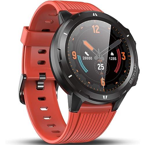 Vigorun Smartwatch Orologio Fitness Uomo Donna, Fitness Tracker con Cardiofrequenzimetro, Sleep Tracker, Contapassi, Autonomia di 14 Giorni, 5 ATM Impermeabile Orologio Sportivo per Android Arancione