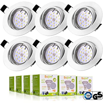 8f2471db846449 LED Spots Encastrables Orientable,Bojim 6x GU10 Lampe de Plafond Blanc  Chaud Rond Plafonnier Encastré