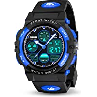 Toy zee Outdoor LED 50M Waterproof Alarm Calendar Kids Digital Sports Watches for Boys Girls Toys Age 5-15 -Great Gifts