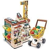 طقم العاب اطفال سوبر ماركت يحتوي على سلة تسوق والة تسجيل النقد للعب بالمنزل