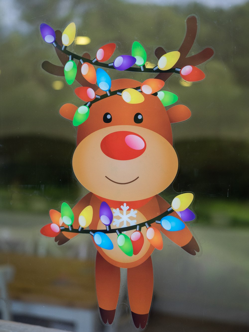 Happy Christmas Reindeer High Quality DoubleSided Static Cling - Window stickers amazon uk