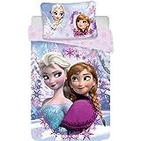 Disney Frozen Anna Elsa - Juego de sábanas para cama individual, compuesto por funda nórdica de 140 x 200 cm y funda de almoh
