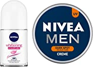 NIVEA Deodorant Roll-on, Whitening Smooth Skin, 50ml & MEN Cream, Dark Spot Reduction, 150ml Combo