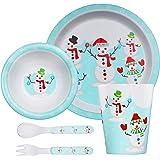 St Stehlen Exclusive Snow Man Design, Melamine Kids Set, 5-Pieces (1 x Plate, 1 x Bowl, 1 x Glass, 1 x Spoon, 1 x Fork ) - Sn