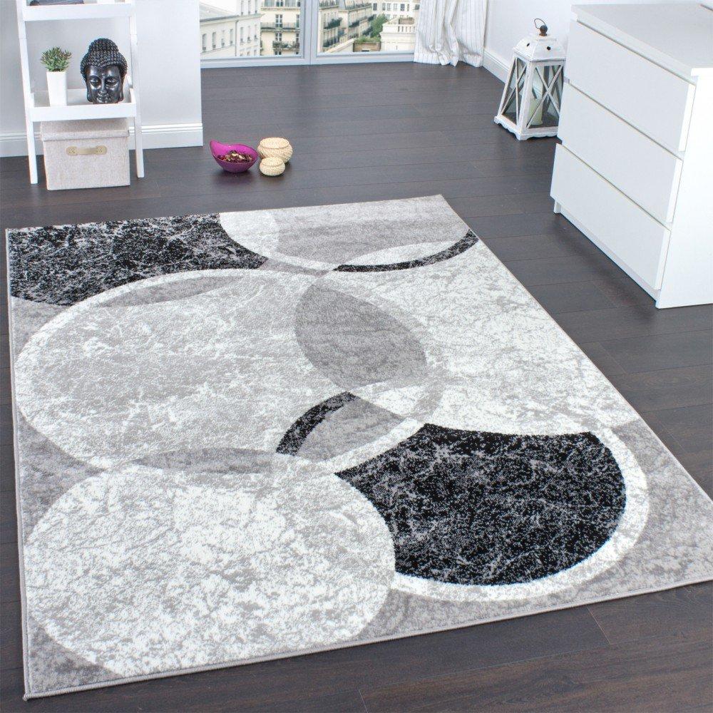 Designer Teppich Wohnzimmer Teppich Kreis Muster in Grau Creme ...