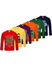 Kiddeo Boy's Cotton Full Sleeves T-Shirts - Pack of 6
