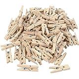 Befaith 100 pcs 25mm Mini naturelles vêtements en bois piquets photo papier pince à linge, clip taille 25 * 3mm