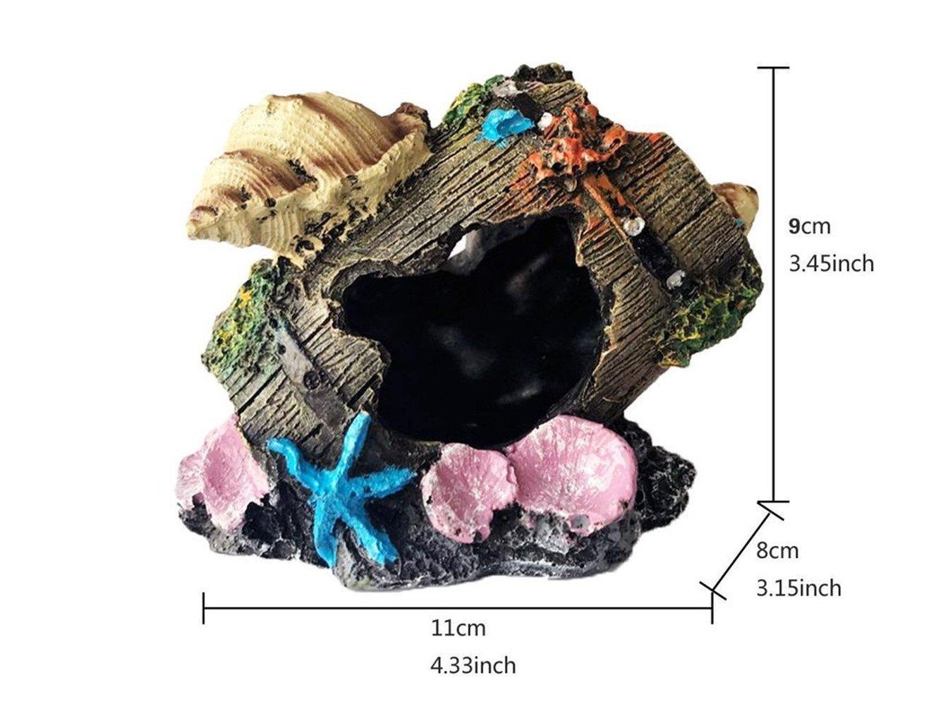 Meiliy Resin Broken Barrel Aquarium Decorations for Fish Tank, Aquarium Ornament Aquatic Caves Hide Hut