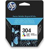 HP 304 N9K05AE, Tricolor, Cartucho de Tinta Original, compatible con impresoras de inyección de tinta HP DeskJet 2620, 2630,