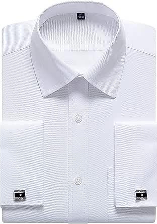 siliteelon Mens Double Cuff Long Sleeve Dress Shirts Cufflinks Included