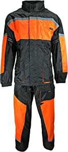 HEYBERRY Motorrad Regenkombi Regenhose Regenjacke schwarz neon orange Gr. XXL