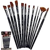 Crafts 4 All Penselset – set med 12, rund och spetsig spets nylon hår artist målarpenslar för akryl, akvarell och oljemålning