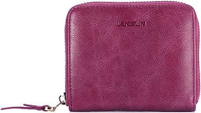 Geldbörse Damen Klein, Lensun Leder Mini Münze Portmonee mit Reißverschluss um Kartenfächer Brieftasche für Frauen