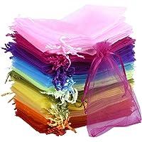 SOMFIUI 100 sacchetti in organza, 10 x 15 cm, multicolori