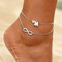 TseenYi - Cavigliera Boho Infinity in argento a strati con cuore, lettera M, per donne e ragazze