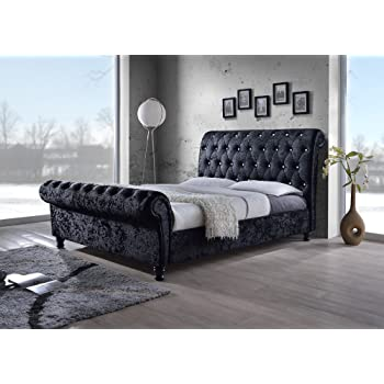 Ideal Furniture Vermont Black Crushed Velvet Look Sleigh Bed Frame