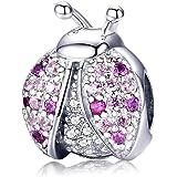 Charms Bead, ciondolo coccinella cristallo benedizione rosa perline ciondolo misura pandora braccialetto e collana accessori