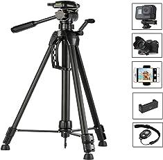 Stativ, Kamera Ständer, Kamera Stativ, Leichtes Reisestativ für Smartphone Canon Nikon Sony Spiegelreflexkamera Kamerastativ Dreibeinstativ mit Kugelkopf, Handy-Adapter mit Bluetooth Fernbedienung