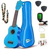 Everjoys Sopran Ukulele Set für Kinder und Erwachsene 21 Zoll Ukulele Starter Kit mit Tasche, Tuner, Songbook, Saiten, Pick,