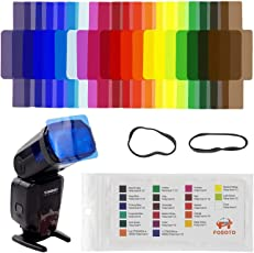 Techzere® FOSOTO 20pcs Flash Speedlite Color Gels Filters for Canon Nikon Sony Godox Yongnuo Camera Flash Light