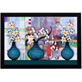 Saumic Craft Floral Art Flower Pots UV Coated Framed Painting for Home Decoration and Gifting with Special Present Inside [Mu