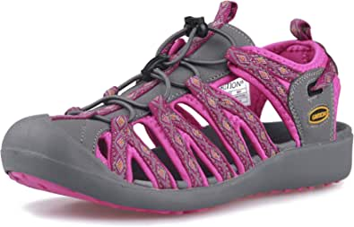 GRITION Women Athletic Hiking Sandals Closed Toe Water Shoes Adventurous Outdoor Sport Trail Summer