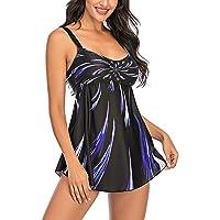 L&ieserram Costumi da Bagno Donna Tankini, Costume Due Pezzi Sexy Donna Canottiera Stampata Fuoco+Pantaloncino Triangolo…
