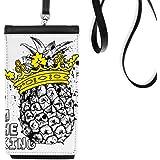 DIYthinkerPineapple Line Drawing Fruit King Phone Wallet Purse Hanging Mobile Pouch Black Pocket