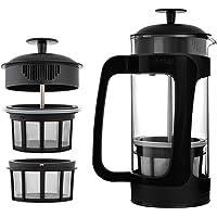 ESPRO® French Press P3 avec Filtre à café, Verre, Noir, 1 l