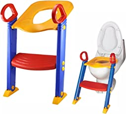 Techsun Mart Baby Kid's Foldable Potty-Trainer Seat for Toilet Potty Stand with Ladder