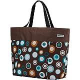 anndora XXL Shopper braun hellblau - Strandtasche Schultertasche Einkaufstasche
