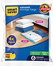 BigOwl Vacuum Compressed Space Saver Storage Bags for Clothes Comforters Blankets Pillows Bedding Packing (Blue, SSB-VAR1-6X(2J-2L-2M))- Set of 6