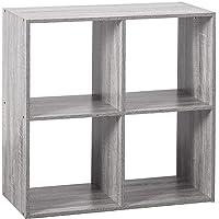 Etagère 4 cases - L 67,6 x P 32 x H 67,6 cm - Bois - Gris