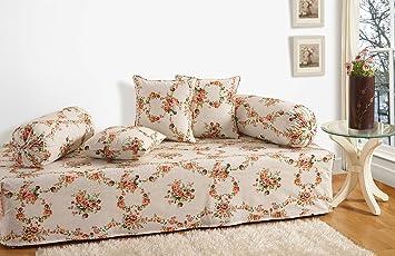 Swayam Shades of India 180 TC 6 Piece Cotton Diwan Set - Off White