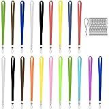 BELIOF 20 Pcs Laniere à Porte-Clef en Nylon Multicolore Cordon à Porte-Badge avec Boucle Pour Téléphone Mobile Carte de Nom P