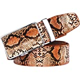 AWX Cintura uomo vero pitone Cintura vera pelle da 40~47 pollici marrone con motivo a serpente a cricchetto Cintura automatic