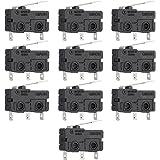VILLCASE 10Pcs 10A No + Nc Kw11-2 Interruptor final recto bisagra Control Mini Microinterruptor Negro AC 125/250V