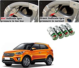 Auto Pearl Car Air Alert Tire Valve Cap for Hyundai Creta (Set of 4)