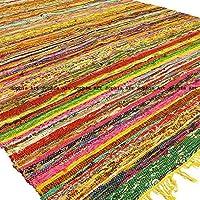 Indian Bohemian Handmade Reversible Rug Braided Area Decorative Chindi Rag Rug Home Floor Decor Runner Cotton Yoga Mat Rug (6.5ftX3ft) (Yellow)
