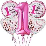Party Propz 5pcs Happy Birthday 1st Birthday Balloons,Pink Baby Girl Mylar Aluminum Foil Balloons for Birthday Party Decorati