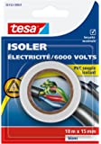 Tesa 56163-00001-00 Isoler Electricité / 6000 Volts PVC Souple Isolant 10 m x 15 mm Blanc