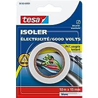 Tesa 56163-00001-00 Isoler Electricité / 6000 Volts PVC Souple Isolant 10 m x 15 mm Blanc
