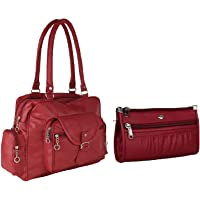 Bizarre Vogue Women's Handbag With Wallet (Set of 2) (BV1188_Maroon)