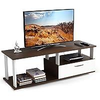 BLUEWUD Novah Engineered Wood TV Entertainment Unit Stand (Mini, Wenge & White)