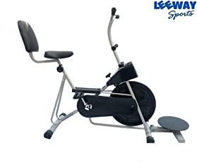 Leeway Fix Handle Gym Bike Fitness Cross Fit Exercise Cycle with Back Support and Twister for Cardio Work Out/Weight Loss (Stamina 201, Silver)