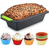 Familybox Moule à Cake rectangulaire avec Moules à Muffin, Set à Pâtisserie Anti Adhérent Silicone - 29.2 x 12.8 x 6.2 cm - 1