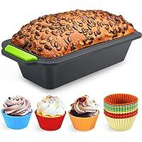 Familybox Moule à Cake rectangulaire avec Moules à muffin, Set à Pâtisserie Anti Adhérent Silicone - 29.2 x 12.8 x 6.2…