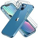 ivoler Clair Coque Compatible avec iPhone 13 avec Protection Caméra Lentille et 3 pièces Verre Trempé, Ultra Transparent Étui