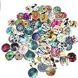 ysister 100 pièces Boutons en Bois, Boutons Couture Ronde, Vintage 2 Trous Boutons colorés pour Artisanat Couture Enfants Bri