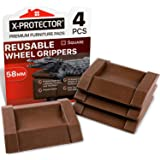 X-Protector Meubelbekers, 4 stuks, premium rubberen rolbekers, meubelonderzetters, Best Furniture Caster Cups - vloerbescherm